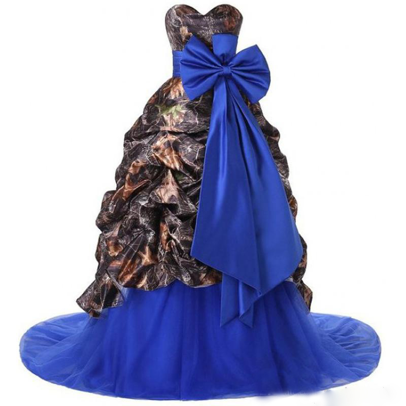 2017 camo a line wedding dress royal blue tulle skirt