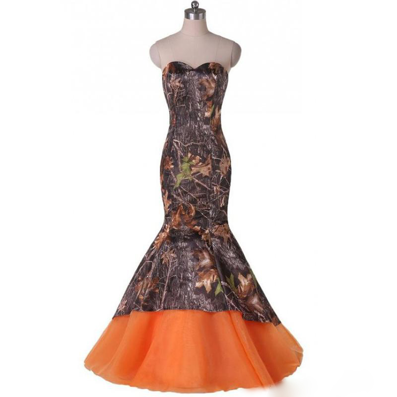 67502ea2802 Forest Camouflage Prom Dresses Mermaid Sweetheart Lace-up Back Long Camo  Tulle Bottom Formal Evening Party Dresses