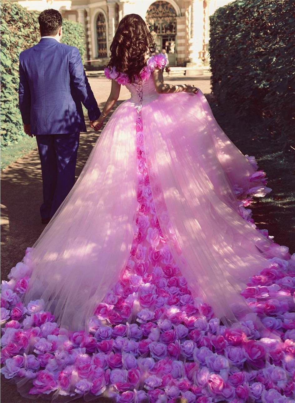 Hand Made Rose Flowers Pink Wedding Dresses