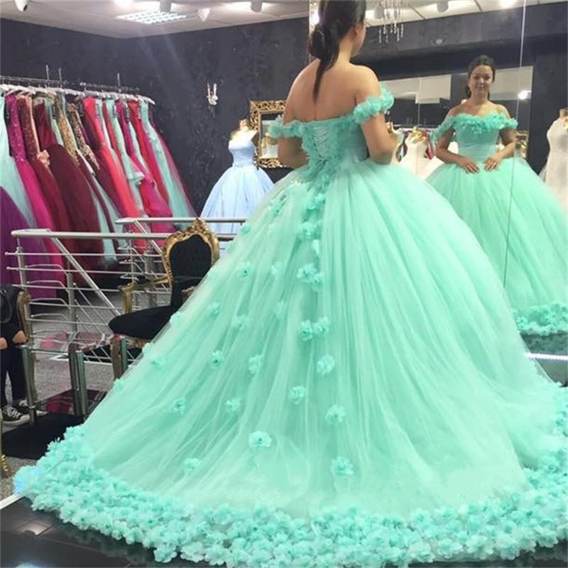 4f8d73a39b8 2017 Quinceanera Dresses Mint Green Ball Gowns Off the Shoulder Corset Hand  Made Flowers Sweet 16